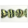 Glass Cutbead Flat Heart 16x15mm Strung- Olive Stripe